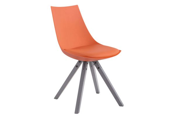 Stuhl Albi Kunstleder Grau Square orange
